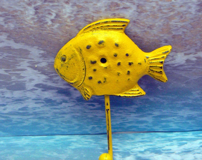 Fish Hook Cast Iron Shabby Chic Yellow Wall Home Decor
