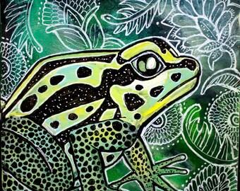 Original Poison Dart Frog Miniature Art by Lynnette Shelley