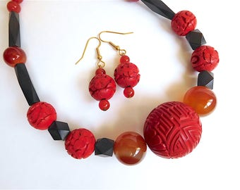 Adjustable Red & Black Necklace and Earrings Set with Carved Cinnabar, Red Agate and Carnelian Beads (Item Z 19)