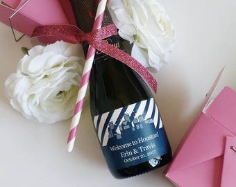 City Skylines // Mini Champagne Bottle Labels //  Custom Wine Labels // Wedding, Bridal Shower or Bachelorette Party