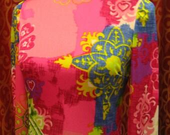 "1970's, 34"" bust, long length , tubular psychedelic dress"