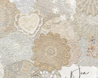 Antique Lace Doilies digital scrapbooking graphics kit / clipart / altered art / mixed media collage / instant download / printable