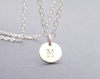 Silver Necklace with initial disc custom hand stamped sterling silver Choker Chain personalised gift for best friend sister valentines day