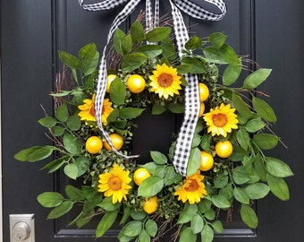 Lemons Wreath, 2017 Summer Wreath Design, Yellow Lemons Wreath, Sunflower Wreath, Summer Door Wreaths, Narrow Wreaths, Front Porch Wreaths