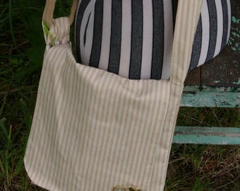 Chrissy's Messenger  Bag -  Beige Stripe