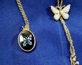Vintage Avon Signed Pendant Butterfly Themed Necklaces-Lot of 2-18 Inch Goldtone Chains, Costume Jewelry
