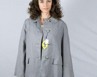 Vintage 1950s Jacket / Coat Deadstock Grey Gabardine NOS Medium Large