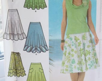 Misses' Three Quarter Circle Skirts Simplicity 4546 Sewing Pattern, 6 Fashion Skirts, Ruffled or Flounce Hem Skirts Size 4 - 10 UNCUT