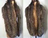 1940s Fox Fur Stole Shawl / black and white cape / wedding evening
