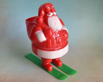 Vintage Rosbro Santa on Skis Candy Container