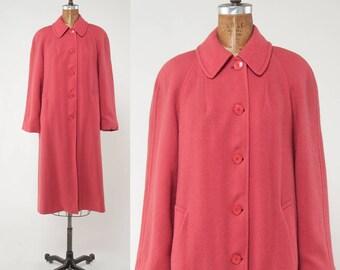Vintage 1950s Pink Coat, Jaeger Wool Coat, Pink Tweed Coat, Designer Coat, Fall Coat, 1950s Winter Coat, Size Medium, Size Large