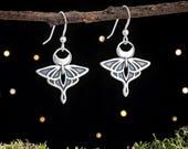 Sterling Silver Luna Moth Earrings - Double Sided