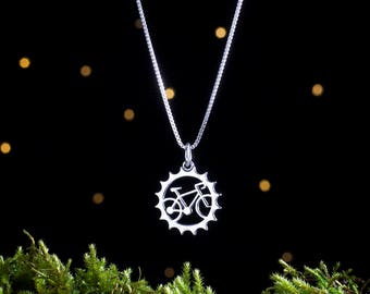 Sterling Silver Bicycle Charm - Small, Double-Sided - Bike Chainring - (Charm, Necklace or Earrings)
