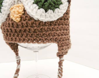 Owl Hat, Little Hoot, Youth Size Speckled White and Brown