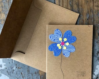 Recycled Envelope Card  Flower Thank You Blank Inside Note Card Greeting