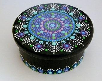 Jewelry storage-mandala wooden trinket storage stash round box-office desk storage-OOAK unique 3D original dot art painting-pointillism-glow