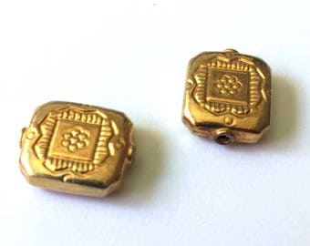 Gold Vermeil Stamped Rectangle Beads 2 Pcs | 12mm x 14mm Gold Plated on Sterling Silver 2mm hole | Jewelry Findings Supplies | Matched Pair