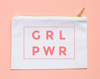 grl pwr cosmetic bag pink girl power, girl boss, grlpwr, grl pwr shirt, makeup bag, bachelorette party gift, bridal party gift, gift for her