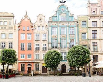 Poland Photography, Europe Travel, Gdansk Poland, City Art Print, Pastel Decor, Whimsical, Wanderlust Travel Art, Architecture, Housewarming