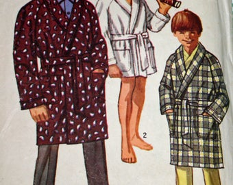 """Simplicity 8471, Vintage, 1960s, Sewing Pattern, Boy's, Robe, in Two Lengths, Boy's Size 16, Chest 34"""""""