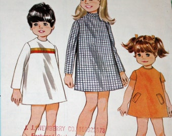 Vintage 1960s Sewing Pattern, McCall's 9114, Child's Dress in Three Versions, Toddler's Dress Size 3, Estate Sale Find