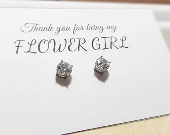 FLOWER GIRL GIFT - Sterling Silver Cubic Zirconia Stud Earrings - Bridesmaid Earrings, Wedding Gift