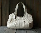 Coach Leather Purse Shoulder Bag White Large Size 80s or 90s Vintage From Nowvintage on Etsy