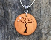 Celtic Tree Necklace, Hand-carved Tree Of Life Pendant, Yew Wood Autumn Tree Earthy Wood Necklace, Wiccan Wood Pendant For Tree Lovers