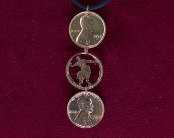 CLEARANCE- Devadasi Bharatanatyam Cut Penny Pendant Pose One