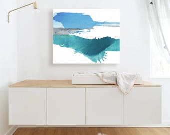 """Abstract Landscape Painting, blue, blue/green, grey, white, yellow, 25 x 30"""" ORIGINAL fine art -- """"Cerulean Lake"""", contemporary art"""