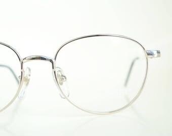 Vintage Gold 1980s Geek Chic Glasses Sexy Librarian Womens Eyeglasses Ladies Eyeglass Frames Metallic Shiny Golden Wire Rim Round 80s