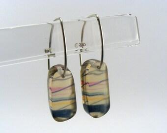 Rainbow Stripe Earrings - Perspex Drop Earrings - Stripe Pattern Earrings - Silver Hook Drops - Pierced Ears Acrylic Earrings - Pattern Drop