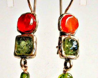 Sterling Silver Earrings, Roman Glass Earrings, Gemstones Earrings,  dangling earrings , Israeli Jewelry, cornelian, Peridot