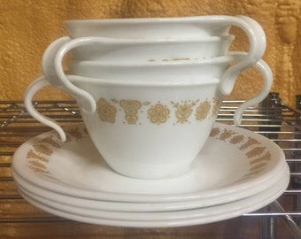4 Vintage Corelle Butterfly Gold, Corelle Cups & Saucers, Coffee Cups, By Pyrex, Vintage Hook Cups, D8