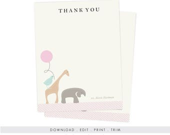 Animal Shower Thank You | Printable Animal Note Cards, Animal Baby Shower Stationery, Digital Download, Instant Download PDF
