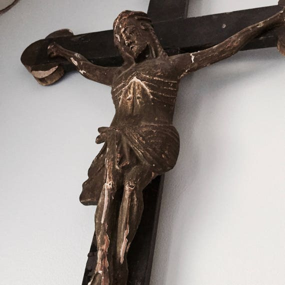 Cross, Antique French Crucifix,Christ,hand carved, 1700-1800 Lord,  Giant Carved,1800, 3 feet 6 1/2 inches long prayer, religious,