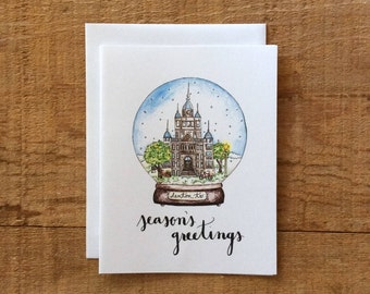 Snow Globe Holiday Card - Season's Greetings Calligraphy // Denton Courthouse