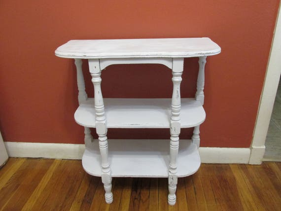 Vintage Stand Upcycled End Table 3 Tier Wood White Distressed