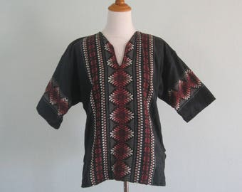 Vintage 70s Shirt - Rustic 70s Mexican Embroidered Top in Black, Brown, and White - Vintage Embroidered Cotton Top Unisex M