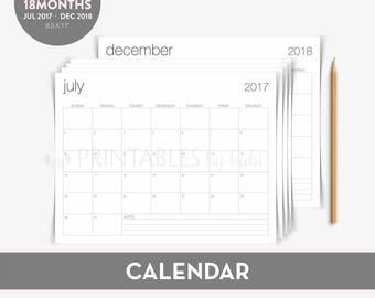 2017-2018 Calendar  / Academic Calendar / 2017 2018 Calendar / Printable 2018 Calendar /2017 2018 Monthly Calendar Instant Download