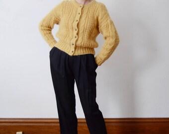 1980s Mustard Mohair Cardigan - M