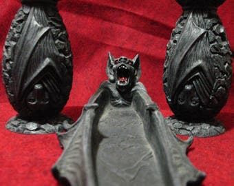 Bat Altar Set, Candle holders and Incense Ash Catcher~Resin~Samhain~Incense Included