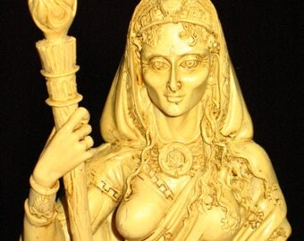 Hecate Statue~Pagan and Witch Altar~Spiritual Home Decor~Bone Colored resin