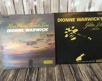 2 Dionne Warwick 33 RPM LPS ~ Vinyl Records ~ Golden Hits Part 1 & Here Where There Is Love ~ Pop ~ Rock n Roll ~ Record Albums ~ Music