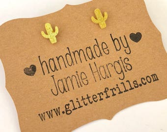 Cactus stud earrings. Yellow glitter earrings. Cactus party. Cactus decor. Glitter jewelry. Gifts for girls. Midwestern themed party.