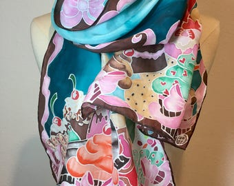 The Sweetest Thing -  Ultimate Dessert hand painted silk scarf