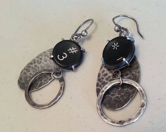 Typewriter Key Earrings in Sterling Silver