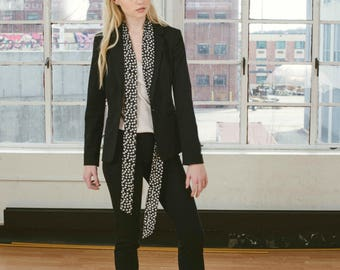 Black and White Polka Dot Long Skinny Scarf