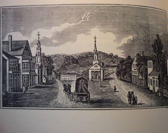 Fitchburg Massachusetts Town Engravings - New England Antiquarian Society - framable gift town history Lunenburg Mass framable 1800 scene
