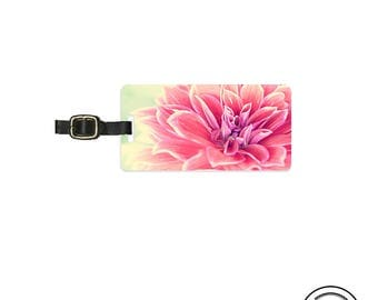 Luggage Tag  Shabby Cottage Chic Floral Metal Luggage Tag With Printed Custom Info On Back, Single Tag